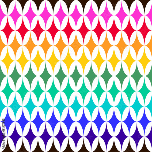 Foto op Aluminium ZigZag Abstract vector seamless pattern with sparkles on white background. Flat illustration of rainbow flashes. Color image with geometric figures. Hipster filing. Beautiful composition. Cute print.