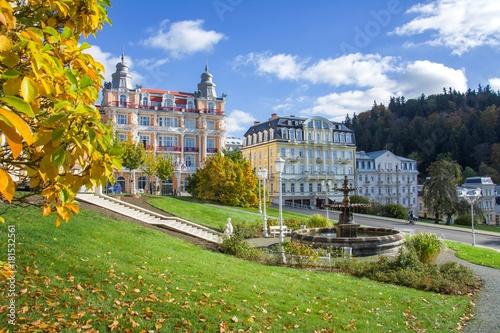 Photo  Goethe square and spa public park - center of Marianske Lazne (Marienbad) - grea