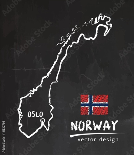Obraz na płótnie Map of Norway, Chalk sketch vector illustration