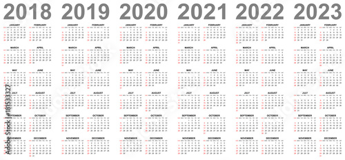 Wake County Year Round Calendar 2022 2023.Simple Editable Vector Calendars For Year 2018 2019 2020 2021 2022 2023 Sundays In Red First Stock Vector Adobe Stock
