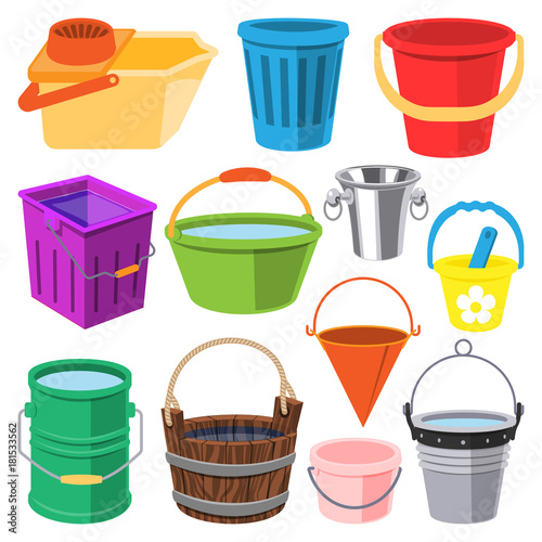 Bucket vector water full wood and metal, plastic bucketful illustration trash bin, pot isolated on white background Wall mural