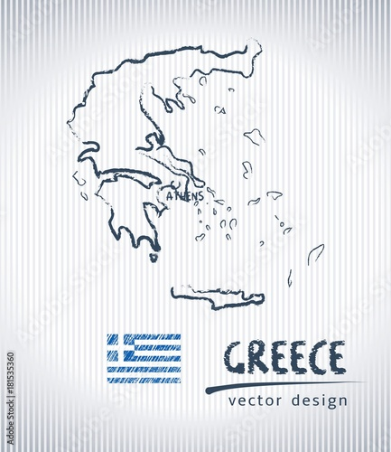 Photo Greece vector chalk drawing map isolated on a white background