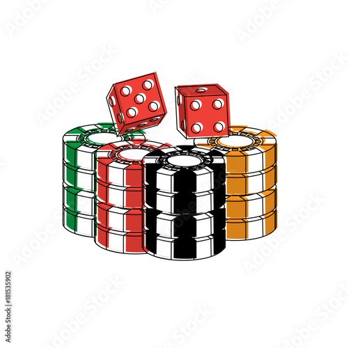 stacked chips and dice for game in the casino vector illustration плакат