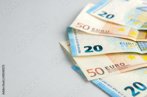 Fotografía  Euro banknotes fan on gray background