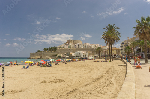 Peñiscola, Spain, August 19, 2017: General view from touristic beach. Peñiscola it's one important touristic place in Spain.