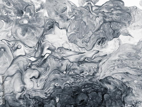 Black and white marble abstract hand painted background