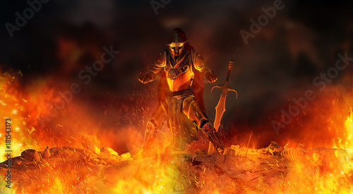 Foto  warrior knight surrounded in flames