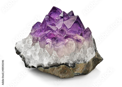 Crystal Stone macro mineral, purple rough amethyst quartz crystals on white back Canvas Print