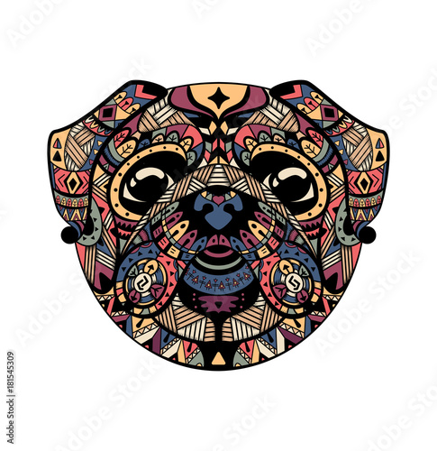 Photo sur Aluminium Style Boho Pug head zentangle stylized, vector illustration