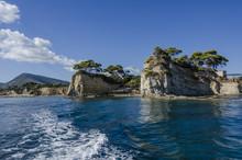 Beach Between Mountainous Promontories Zakynthos