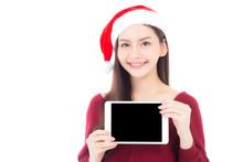Asian Young Woman Wear Santa H...