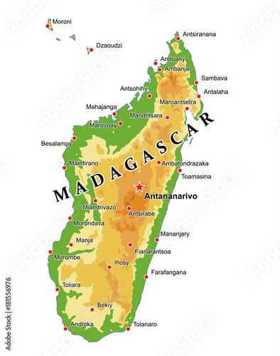 Physical Map Of Madagascar Physical map of Madagascar   Buy this stock vector and explore