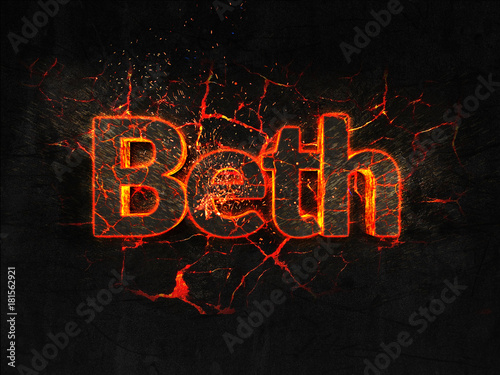 Photo  Beth Fire text flame burning hot lava explosion background.
