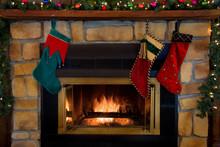 Christmas Three Stockings Hang...