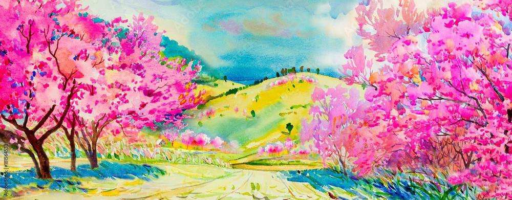 Malowanie różowym kolorem dzikich kwiatów wiśni himalajskich