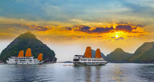 Tourist Junks Floating Ha Long...