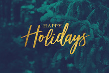Gold Happy Holidays Script Wit...