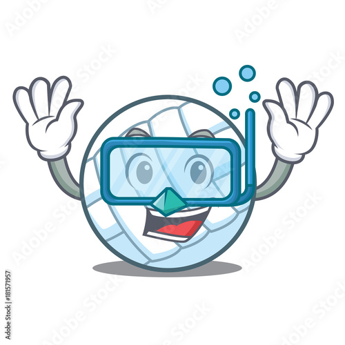 Photo  Diving volley ball character cartoon