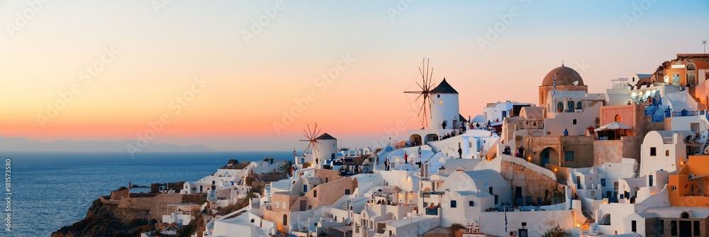 Fototapety, obrazy: Santorini skyline sunset