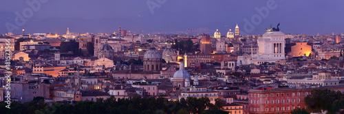 Poster Prague Rome skyline night view