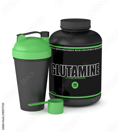 3d render of glutamine powder with shaker and spoon Wallpaper Mural