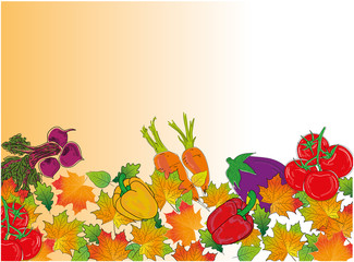 Autumn leaves and vegetables on the background. autumn theme for the design of texts, postcards. vector illustration.