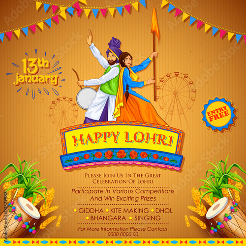 Photo  Happy Lohri holiday background for Punjabi festival