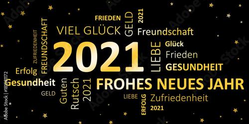 Poster  Glückwunschkarte Silvester 2021 - Guten Rutsch und ein frohes neues Jahr