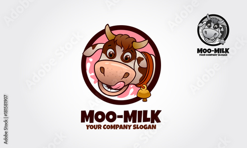 a cow cartoon character logo template this logo ideal for food logo