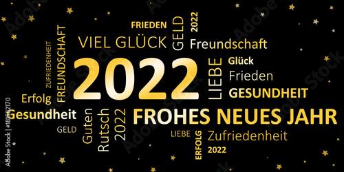 Glückwunschkarte Silvester 2022 - Guten Rutsch und ein frohes neues Jahr Plakat