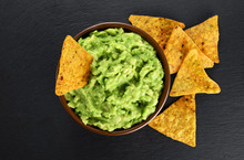 Bowl With Guacamole And Nachos...