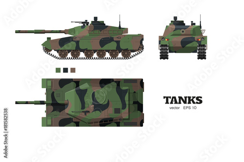 Realistic tank blueprint armored car with camouflage on white realistic tank blueprint armored car with camouflage on white background top side malvernweather Gallery