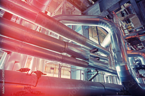 Foto auf AluDibond Bahnhof Equipment, cables and piping as found inside of a modern industrial power plant