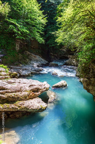 Foto auf Gartenposter Reflexion Martvili canyon in Georgia. Beautiful natural canyon with view of the mountain river