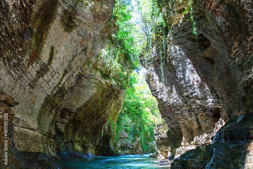 Deurstickers Reflectie Martvili canyon in Georgia. Beautiful natural canyon with view of the mountain river