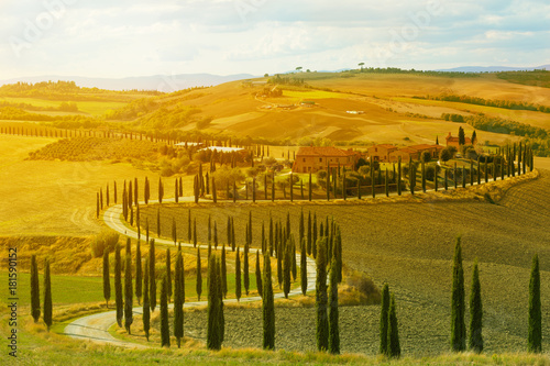 Landscape of hills, country road, cypresses trees and rural houses,Tuscany , rural Italy
