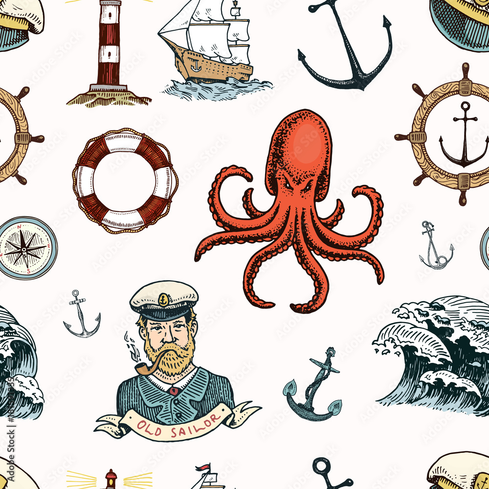 Marine and nautical or sea, ocean emblems. seamless pattern. set of engraved vintage, hand drawn, old, labels or badges for a life ring, a cannon ball, a captain with a pipe.