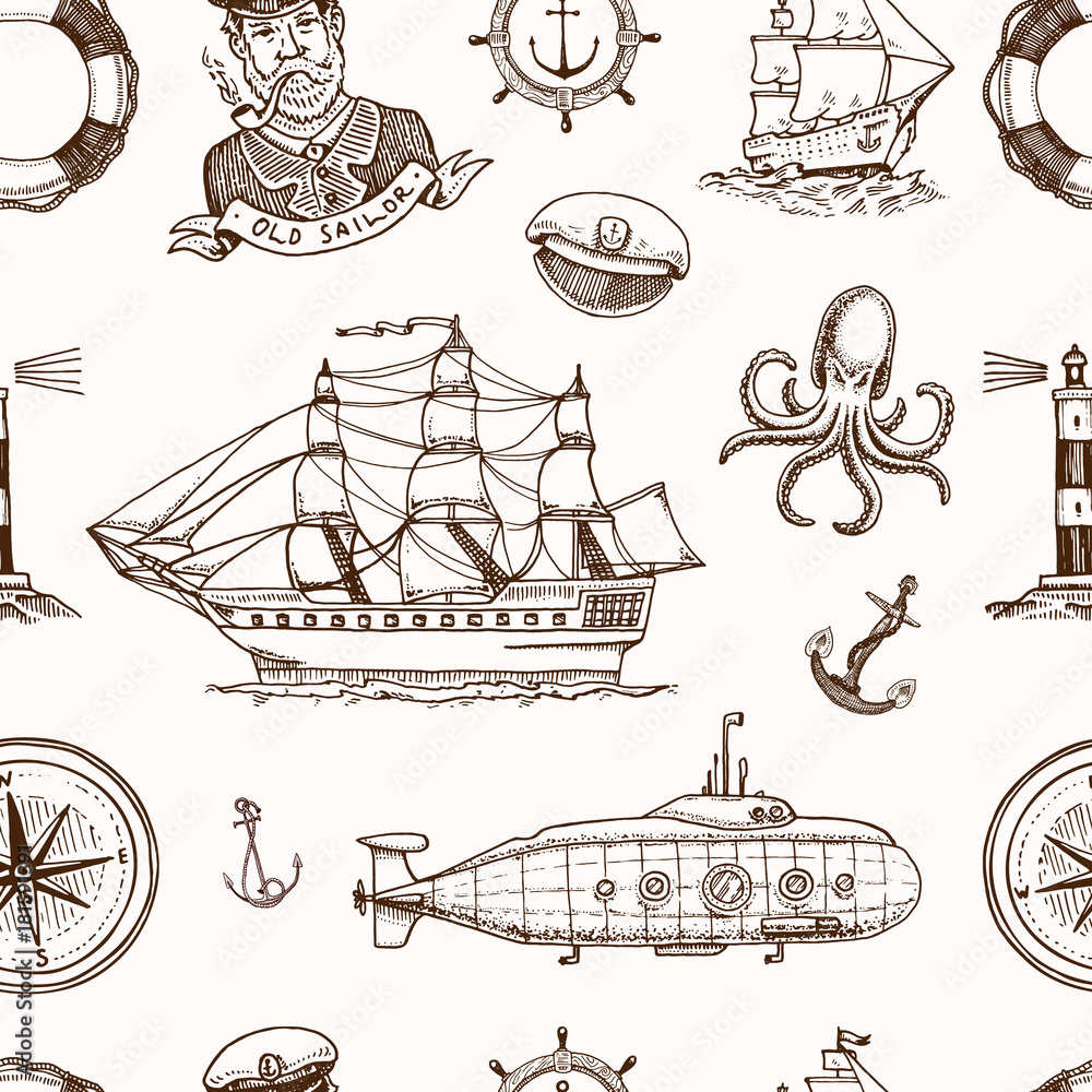 Marine and nautical or sea, ocean emblems. seamless pattern. set of engraved vintage, hand drawn, old, labels or badges for a life ring, a cannon ball, a captain seagoing ship.