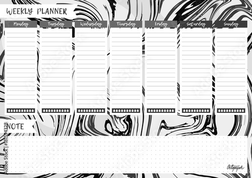 graphic regarding Cute Weekly Planner Printable referred to as Black and white liquid texture, marbling printable weekly