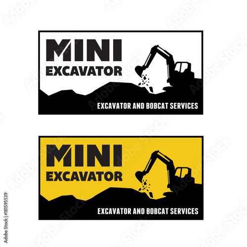 Photo Excavator and backhoe logo vector illustration