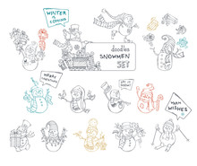 Vector Set Of Cute Doodles Snowmen.