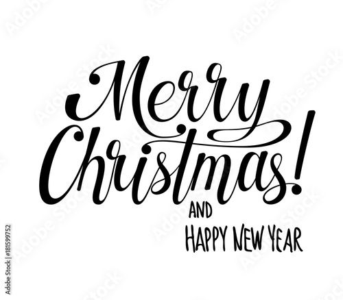 merry christmas and happy new year lettering calligraphy text for design card holiday greeting gift poster black and white vector illustration buy this stock vector and explore similar vectors at adobe black and white vector illustration