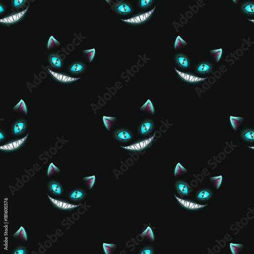 Seamless pattern with disappearing cat faces Fototapet