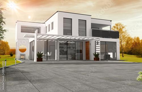 Belle maison moderne d\'architecte à toit plat – kaufen Sie ...