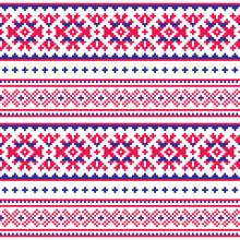 Seamless Folk Art Pattern, Lapland Traditional Design, Sami Vector Seamless Background Scandinavian, Nordic Wallpaper