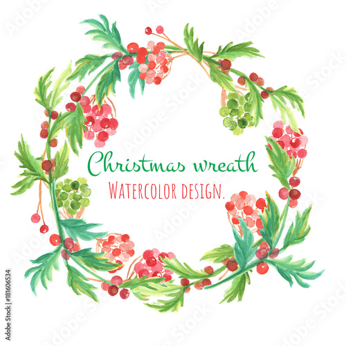 christmas and new year card watercolor clip art is christmas wreth with ball tree