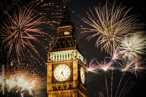 new Year in the city - Big Ben with fireworks