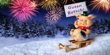 Glücksschwein Auf Schlitten W...
