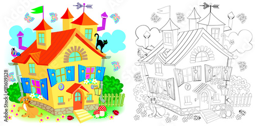 Colorful and black and white pattern for coloring. Fairyland toy house. Worksheet for children and adults. Vector image.