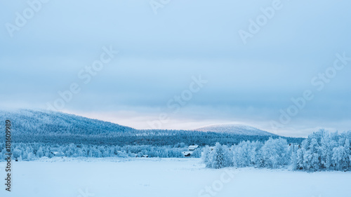 Snowy mountains in lapland Poster Mural XXL
